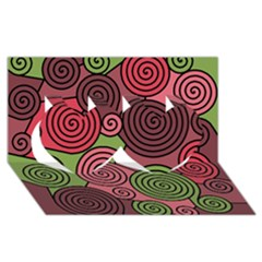 Red and green hypnoses Twin Hearts 3D Greeting Card (8x4)