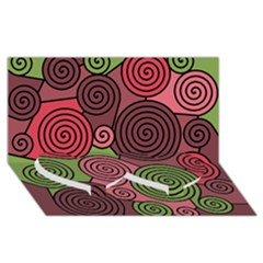 Red and green hypnoses Twin Heart Bottom 3D Greeting Card (8x4)