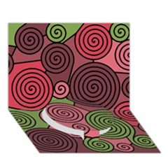 Red and green hypnoses Circle Bottom 3D Greeting Card (7x5)