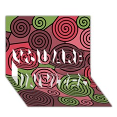 Red and green hypnoses YOU ARE INVITED 3D Greeting Card (7x5)