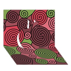 Red and green hypnoses Apple 3D Greeting Card (7x5)
