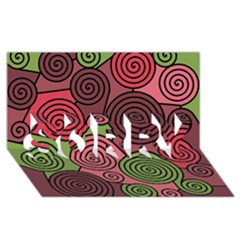 Red and green hypnoses SORRY 3D Greeting Card (8x4)