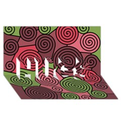 Red and green hypnoses HUGS 3D Greeting Card (8x4)