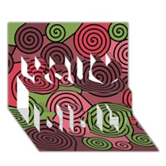 Red and green hypnoses You Did It 3D Greeting Card (7x5)