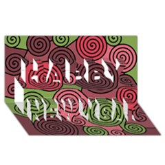 Red and green hypnoses Happy New Year 3D Greeting Card (8x4)