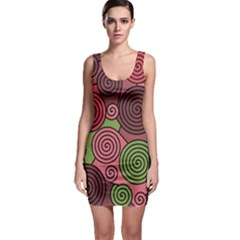 Red and green hypnoses Sleeveless Bodycon Dress