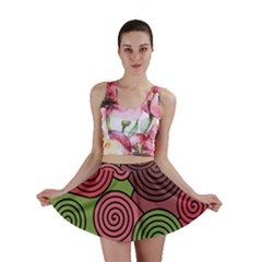 Red and green hypnoses Mini Skirt