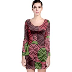 Red and green hypnoses Long Sleeve Bodycon Dress