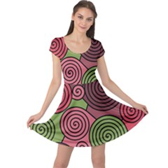 Red and green hypnoses Cap Sleeve Dresses