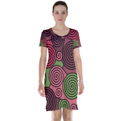 Red and green hypnoses Short Sleeve Nightdress
