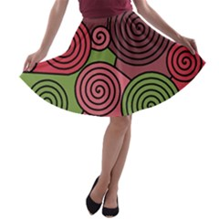 Red and green hypnoses A-line Skater Skirt