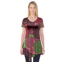 Red and green hypnoses Short Sleeve Tunic