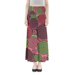 Red and green hypnoses Maxi Skirts
