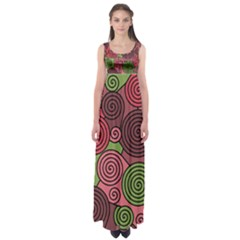 Red and green hypnoses Empire Waist Maxi Dress