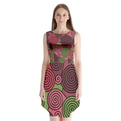 Red And Green Hypnoses Sleeveless Chiffon Dress