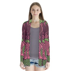 Red and green hypnoses Drape Collar Cardigan