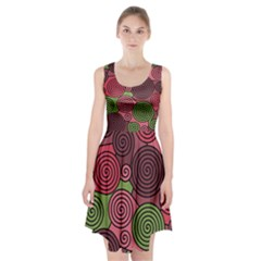 Red and green hypnoses Racerback Midi Dress