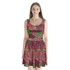 Red and green hypnoses Split Back Mini Dress