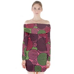 Red And Green Hypnoses Long Sleeve Off Shoulder Dress