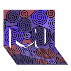 Blue and red hypnoses  I Love You 3D Greeting Card (7x5)