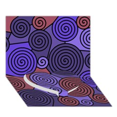 Blue and red hypnoses  Heart Bottom 3D Greeting Card (7x5)