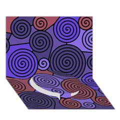 Blue and red hypnoses  Circle Bottom 3D Greeting Card (7x5)