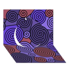 Blue and red hypnoses  Circle 3D Greeting Card (7x5)