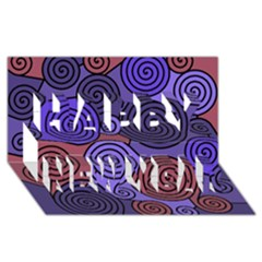 Blue and red hypnoses  Happy New Year 3D Greeting Card (8x4)