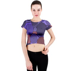Blue and red hypnoses  Crew Neck Crop Top