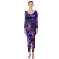Blue and red hypnoses  Long Sleeve Catsuit