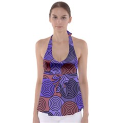 Blue and red hypnoses  Babydoll Tankini Top