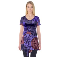 Blue and red hypnoses  Short Sleeve Tunic
