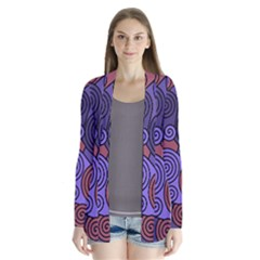 Blue and red hypnoses  Drape Collar Cardigan