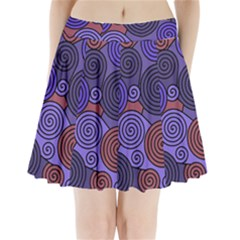 Blue And Red Hypnoses  Pleated Mini Skirt