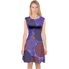 Blue And Red Hypnoses  Capsleeve Midi Dress