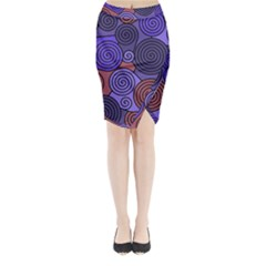 Blue And Red Hypnoses  Midi Wrap Pencil Skirt