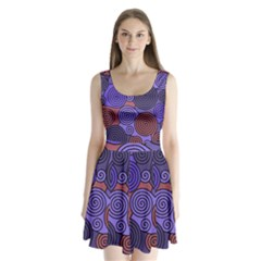 Blue and red hypnoses  Split Back Mini Dress