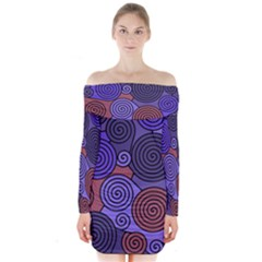 Blue and red hypnoses  Long Sleeve Off Shoulder Dress