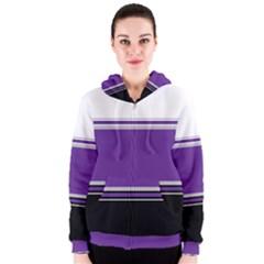 Horizontal Blocks of White, Purple and Black Women s Zipper Hoodie