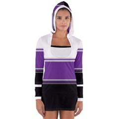 Horizontal Blocks of White, Purple and Black Women s Long Sleeve Hooded T-shirt