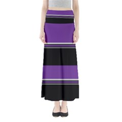 Horizontal Blocks of White, Purple and Black Maxi Skirts