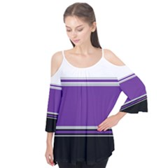 Horizontal Blocks of White, Purple and Black Flutter Tees