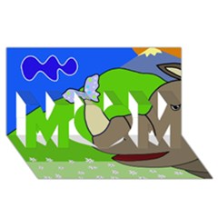 Butterfly and rhino MOM 3D Greeting Card (8x4)
