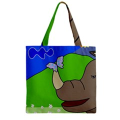 Butterfly and rhino Zipper Grocery Tote Bag