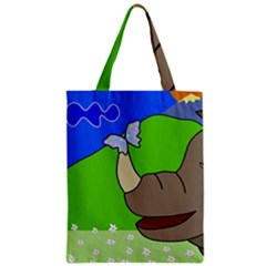 Butterfly and rhino Zipper Classic Tote Bag