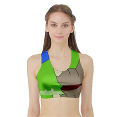 Butterfly and rhino Sports Bra with Border