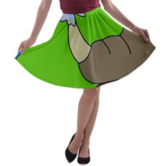 Butterfly and rhino A-line Skater Skirt