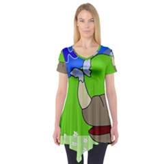 Butterfly And Rhino Short Sleeve Tunic