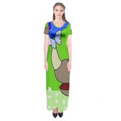 Butterfly and rhino Short Sleeve Maxi Dress