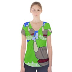 Butterfly and rhino Short Sleeve Front Detail Top